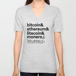 bitcoin & ethereum & litecoin & monero. (& bitconnect). Unisex V-Neck