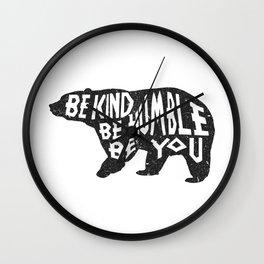 Be Humble Bear Wall Clock