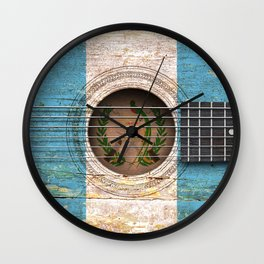 Old Vintage Acoustic Guitar with Guatemalan Flag Wall Clock