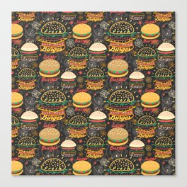Graphic seamless pattern bright tasty burgers on a dark background Canvas Print