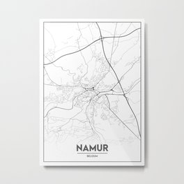 Minimal City Maps - Map Of Namur, Belgium. Metal Print