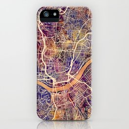 Cincinnati Ohio City Map iPhone Case