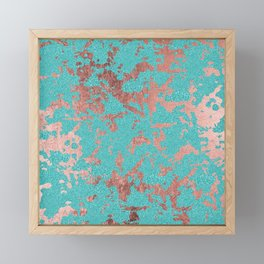 Modern turquoise glitter faux rose gold marble Framed Mini Art Print
