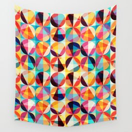 Retro Vintage Geometric Circles Pattern Wall Tapestry