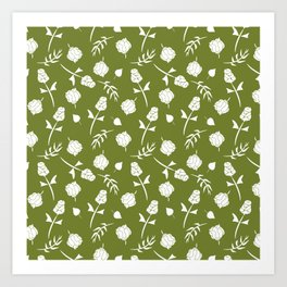 Bright Olive Green and White Floral Pattern Art Print