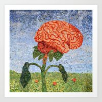 biology Art Prints featuring Biology: Brain by Textility