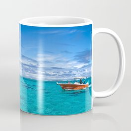 South Pacific Crystal Ocean Dreamscape with Boat Coffee Mug