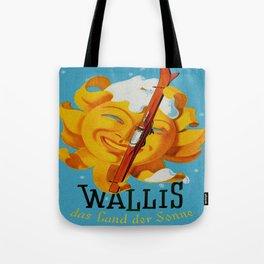 Wallis - Valais Switzerland - German Travel Poster Tote Bag