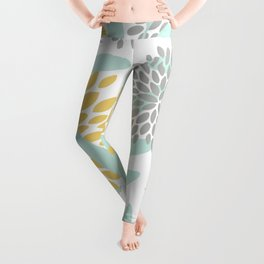 Floral Prints, Leaves and Blooms, Yellow, Gray and Aqua Leggings