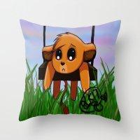 simba Throw Pillows featuring Chibi Simba by LK17