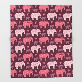 Purple and Pink Kids Baby Elephants Silhouette Throw Blanket