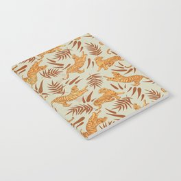 Vintage Golden Tigers Pattern / Big Cats, Leaves, Nature Notebook