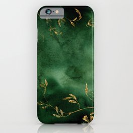 Winter Gold Flowers On Emerald Marble Texture iPhone Case