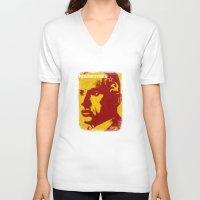 soviet V-neck T-shirts featuring Mayakovsky, Soviet Poet by Adam Metzner