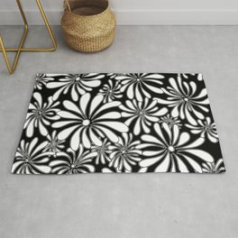 Swirly Flower Black and White Graphic Design Foral Art by Megan Duncanson MADART Rug