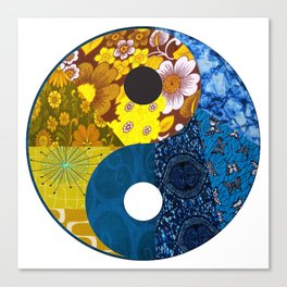 Golden Blue Yin & Yang Canvas Print