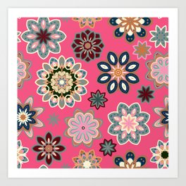 Flower retro pattern in vector. Blue gray flowers on pink background. Art Print