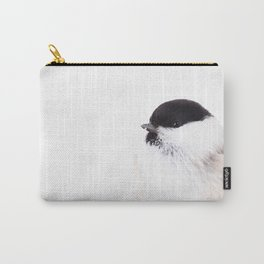 Cute Willow Tit sitting in the snow #decor #buyart #society6 Carry-All Pouch