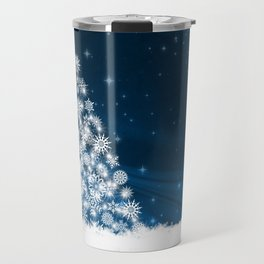 Blue Christmas Eve Snowflakes Winter Holiday Travel Mug