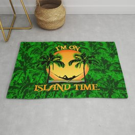 Palm Trees Tropical Island Time Rug