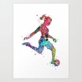 Girl Soccer Player Watercolor Sports Art Art Print