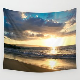 Poolenalena Beach Sunset Makena Maui Hawaii Wall Tapestry
