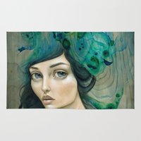 mermaid Area & Throw Rugs featuring Mermaid by Mandy Tsung