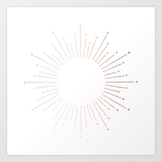 Sunburst Moon Dust Bronze on White Art Print