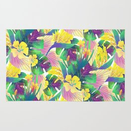 Yellow tropical plam leaves Rug