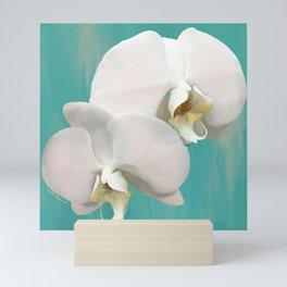 WHITE ORCHIDS - AQUA Mini Art Print