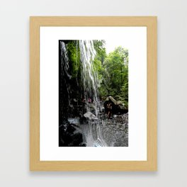 LH Waterfall People Framed Art Print