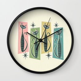 Retro Patchwork Tabbies ©studioxtine Wall Clock