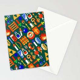 The Legend of Z   legendary items pattern   green Stationery Cards