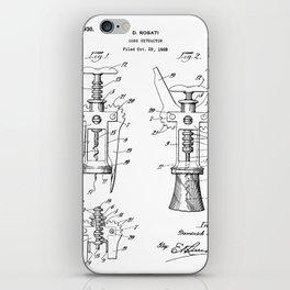 Cork Screw Patent - Wine Art - Black And White iPhone Skin