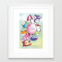 kirby Framed Art Prints featuring Kirby by Josh Filhol Illustration