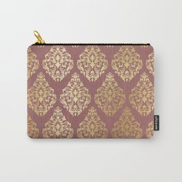 Burgundy rose gold elegant damasque Carry-All Pouch