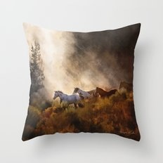 Horses in a Golden Meadow Throw Pillow