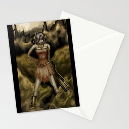 The Girl with a Big Gun Stationery Cards