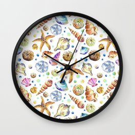 Starfish shell carnival Wall Clock