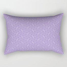 Lilac Sayagata Pattern - Auspicious Sacred Geometry Rectangular Pillow