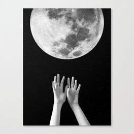 Moon, Hands, Space, Stars, Collage, Modern, Minimal Art Print Canvas Print