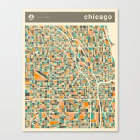 chicago map Canvas Prints featuring CHICAGO MAP by Jazzberry Blue
