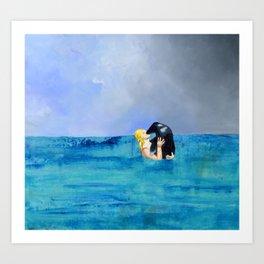 Girl Kissing Seal Art Print