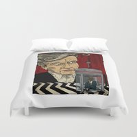 david lynch Duvet Covers featuring David Lynch Signature Cup Coffee (Rabbit Blend) by David Procter