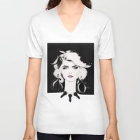 blondie V-neck T-shirts featuring Blondie by Christopher Morris