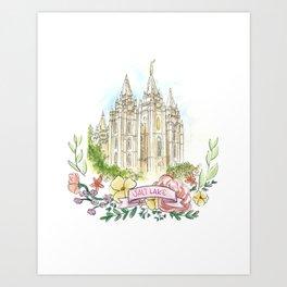Salt Lake City LDS watercolor Temple with flower wreath Art Print