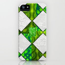 Green Retro Irish Diamond iPhone Case