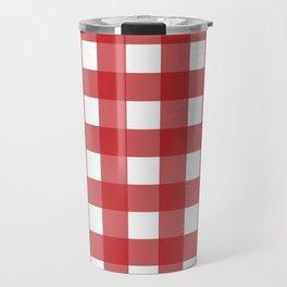 Buffalo Plaid in Red Travel Mug