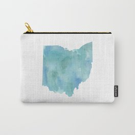 Watercolor State Map - Ohio OH blue green Carry-All Pouch