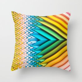 Sun Shard IV. Abstract Colorful 3d Chevron Throw Pillow